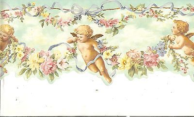 CHERUB ANGELS SCALLOPED MINT GREEN WITH FLOWERS AND BOWS WALLPAPER BORDER