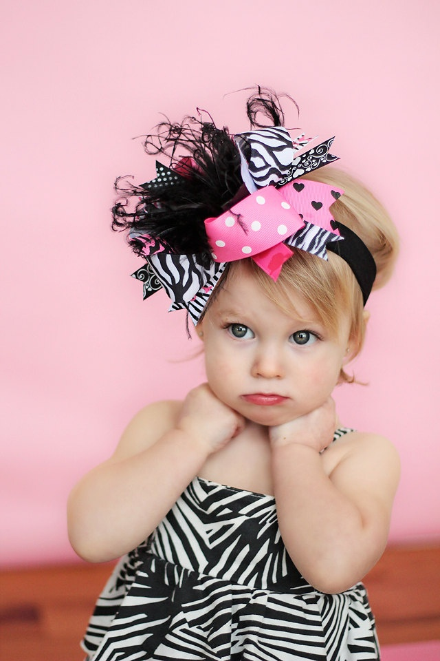 Zebra over the top hair bow on a headband - andjane.etsy.com