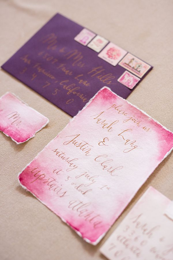 wedding stickers for invitations%0A Love this watercolor invitation in pink with a purple envelope