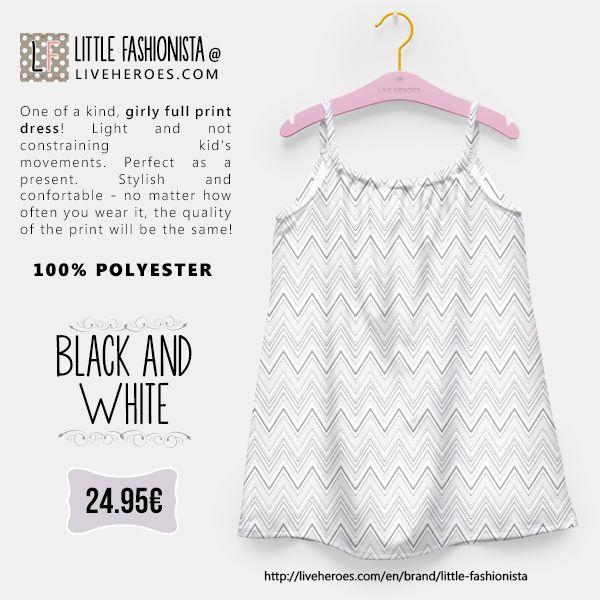 #chevron #zigzag #blackandwhite #modern #monochrome # chevronpattern #stylish #lines #soft #dress #girldress #fashion #liveheroes #liveheroesshop #littlefashionista