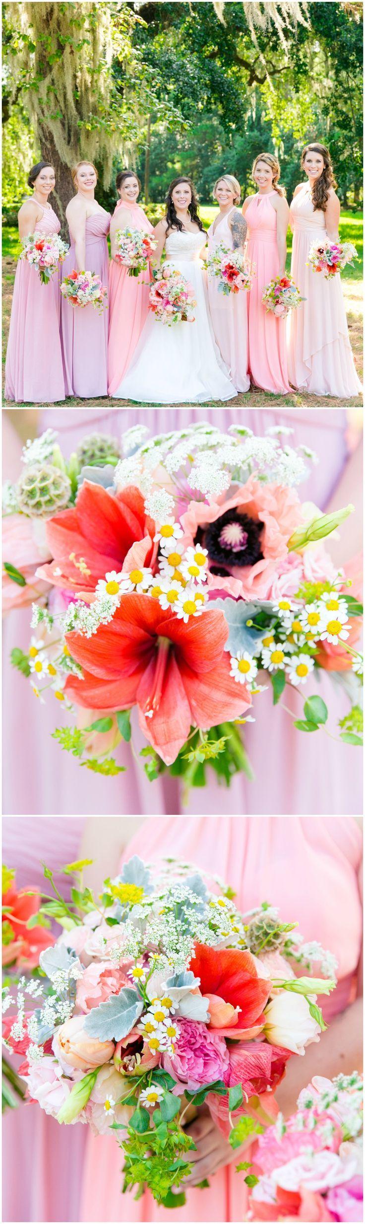 Bridesmaid dresses, long pink gowns, pastel purple, hibiscus bouquets, summer wedding fashion // Dana Cubbage Weddings