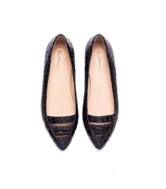Sale 50% off! Black flats, Black shoes, women's shoes. Evening flat shoes. Women flats, handmade leather shoes. Le Marais model