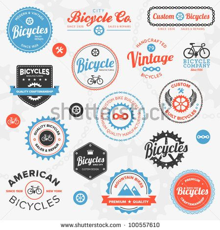 Set Of Vintage And Modern Bicycle Shop Logo Badges And Labels Stock Vector 100557610 : Shutterstock