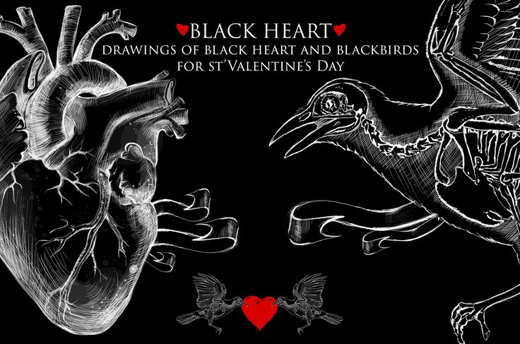 Black Heart- st'Valentine's Drwaings by Krisp_Krisp on @creativemarket