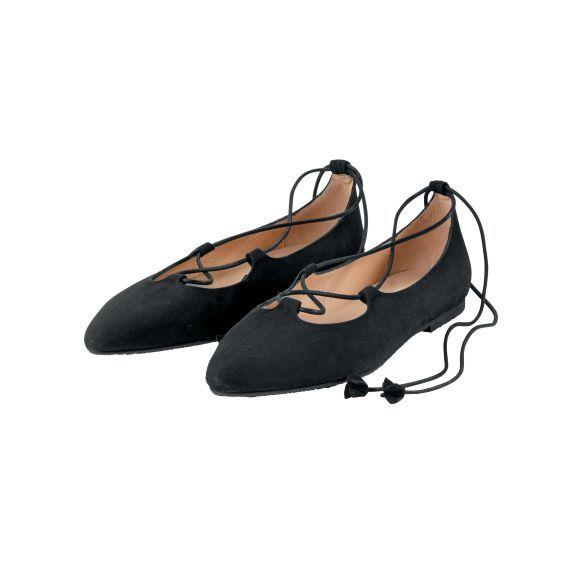 Spitz zulaufender Ballerina von Passarella aus feinem Veloursleder