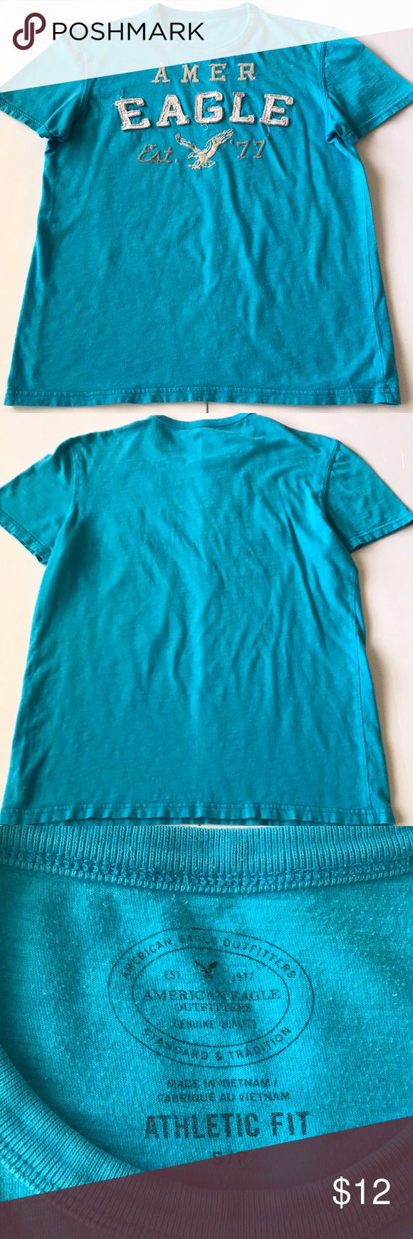 American Eagle shirt Aqua blue tshirt with embroidered logo on front American Eagle Outfitters Shirts Tees - Short Sleeve