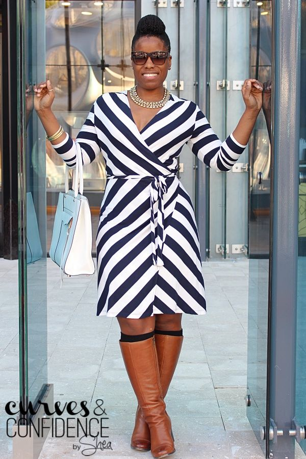 Oldnavy Wrap dress | Knee high boots | White Purse | Natural Updo