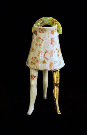Michaela Kloeckner   Put Your Best Leg Forward - Little Jug with Attitude - 2013   Wheelthrown and slip cast Earthenware, ceramic under glaze colours, tissue paper print, 24ct gold lustre.   25(H) x 10.5(W)cm