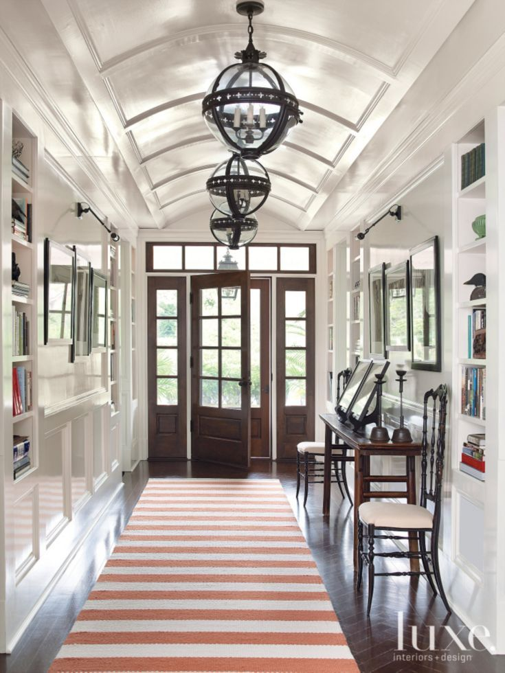Library Hallway Custom Striped Rug Interior Design Luxe Interiors Barrel Ceiling