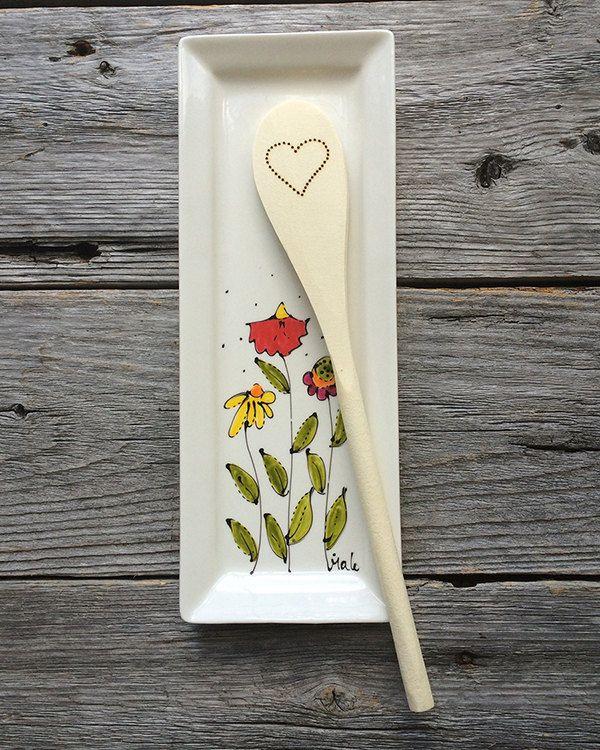Petit Plateau rectangle, fleurs, porte-cuillère, vide-poche, crudité, peint à la main de la boutique IsamaloArtiste sur Etsy