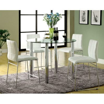 Narbo 5 Piece Counter Height Dining Set Upholstery: White - http://diningsetspot.com/narbo-5-piece-counter-height-dining-set-upholstery-white-640456006/