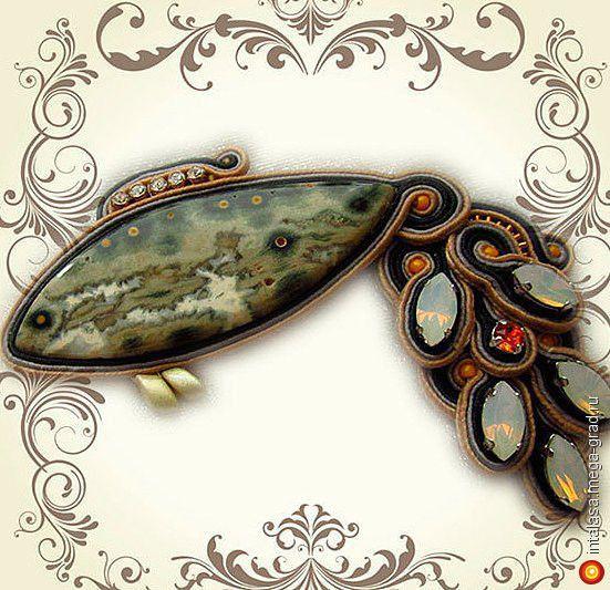 Сутажная брошь-кулон 'Рыбка' - вязание и вышивка, плетение, дизайнерская брошь. МегаГрад - город мастеров
