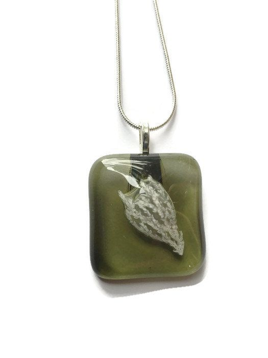 Olive Green Fused Glass Necklace by thejeremiahtreeglass. Explore more products on http://thejeremiahtreeglass.etsy.com