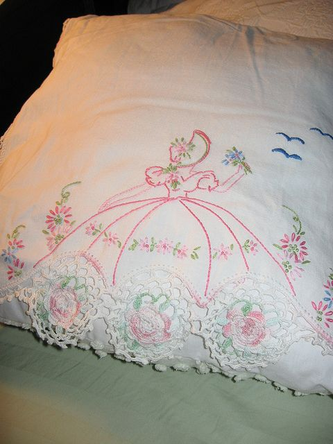 Southern belle pillowcase. I used to love these...wish I could embroider well enough to make them.