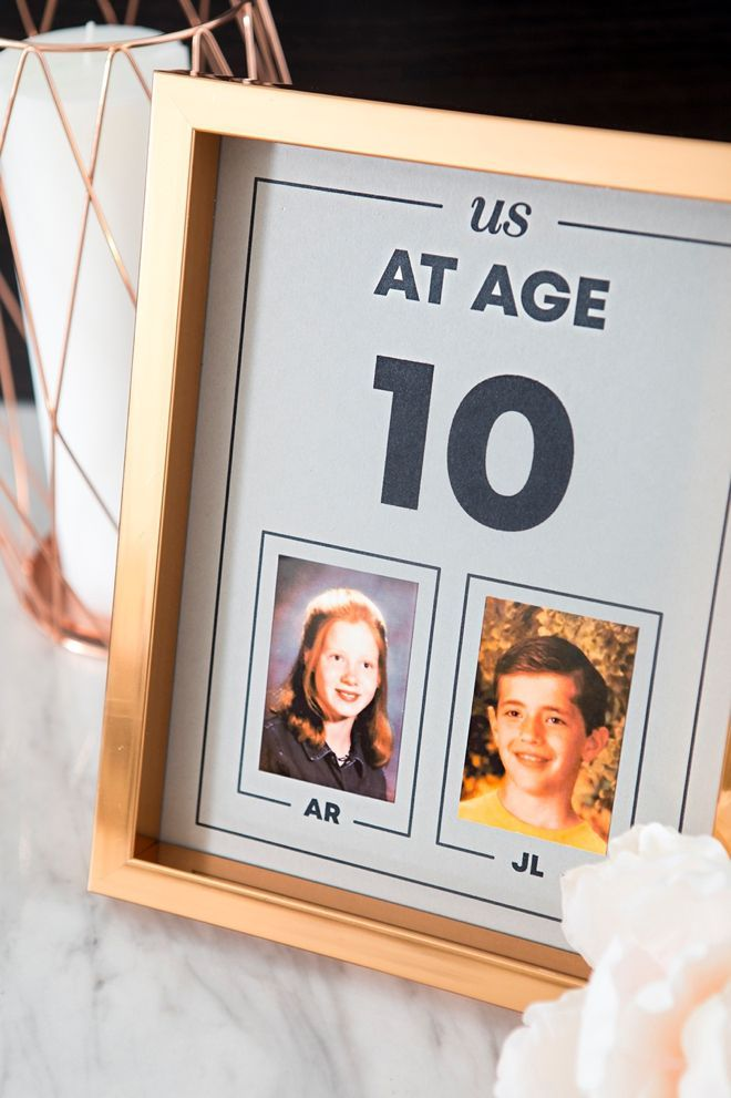 "These DIY ""Us At Age"" Photo Table Numbers Are The Absolute BEST! For each wedding table number, share a photo of you and your fiance at that AGE! Se..."