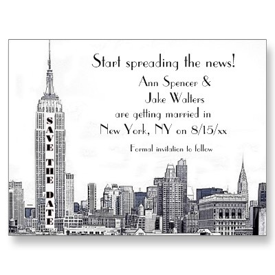 NYC Skyline Etched 01 Save the Date Postcards