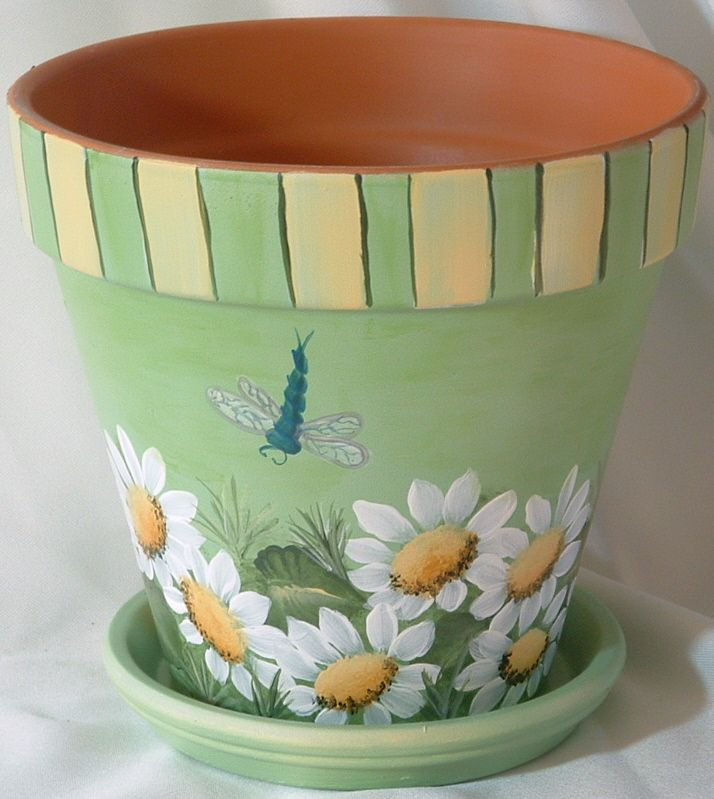 10_inch_Pale_Green_Terra_Cotta_Pot_with_Daisies.jpg (714×799)