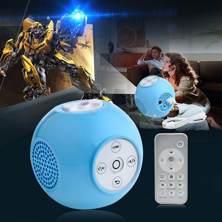Mini LED Projector HD Home USB Projector Ball Shape with Remote Control 640x360 50LM Blue