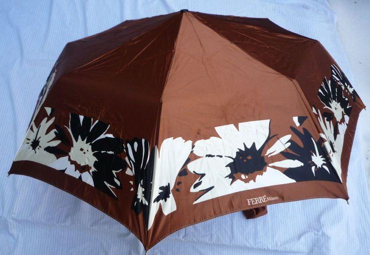 NEW Beautiful  Art Deco Ferre Milano Italy Automatic Folding Umbrella Floral  #Ferre #CompactFolding