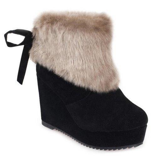 Faux Fur Wedge Heel Boots