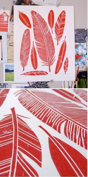 feather block print