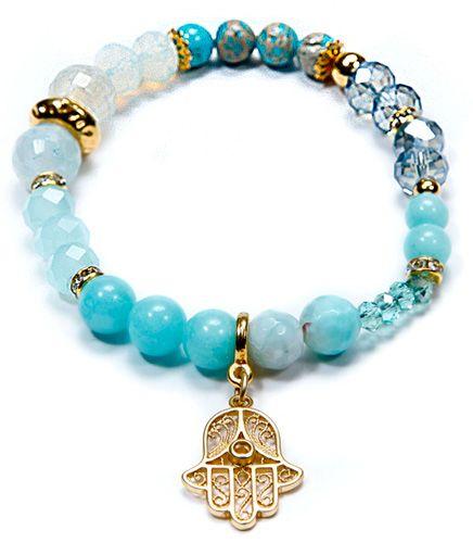 Gemstones Hamsa Evil Eye Bracelet