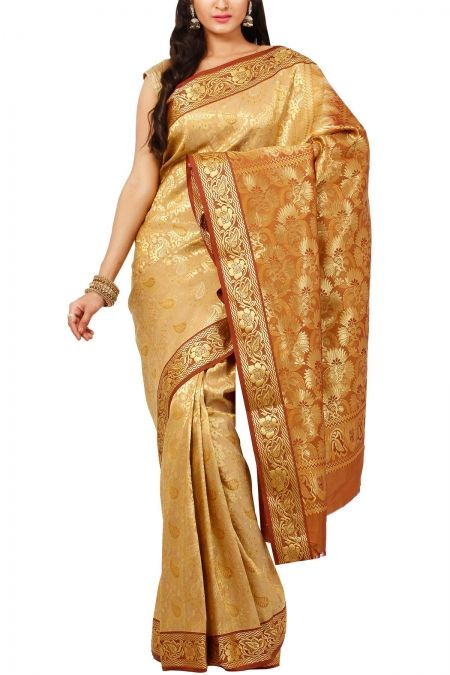 Ecru Brown Brocade Art Silk Saree