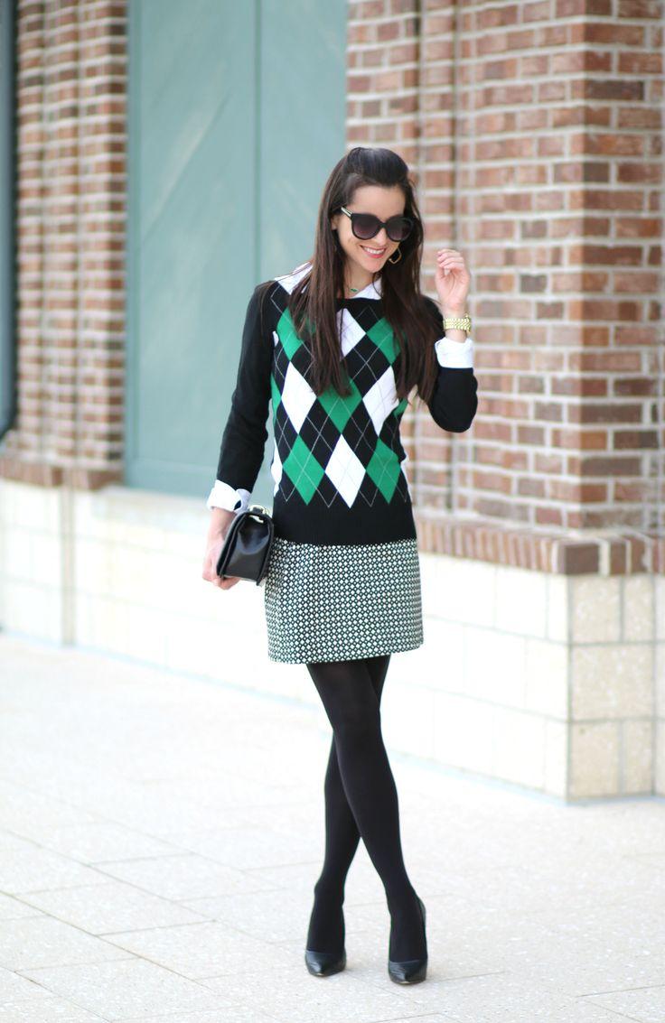 merona argyle sweater, argyle sweater, work outfit, professional mixed patterns, marie claire magazine, diary of a debutante, stephanie ziajka