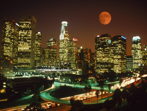 Moon Over Los Angeles Skyline