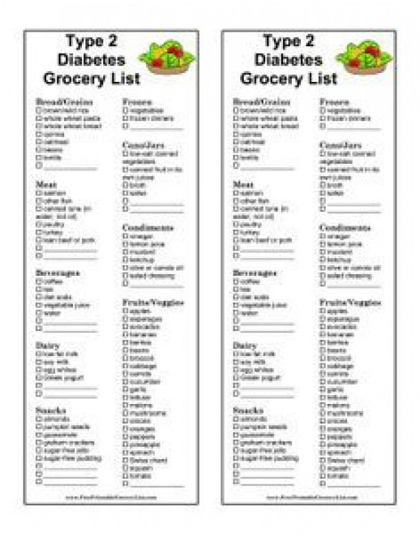 Great For People With Type 2 Diabetes This Printable Grocery List