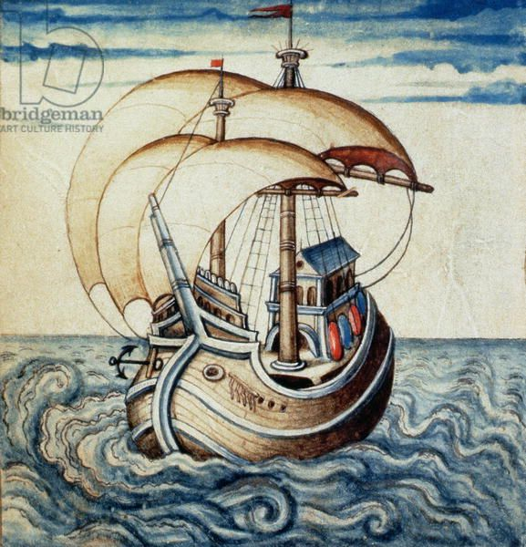 SMM2 p.8 Sailing ship, from Theatre des Vices et Vertus, by Jan van der Noot (c.1539-95) (vellum)