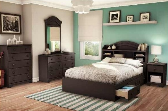 Love the accent wall and dark brown furniture home decor pinterest dark brown furniture Brown and green master bedroom ideas