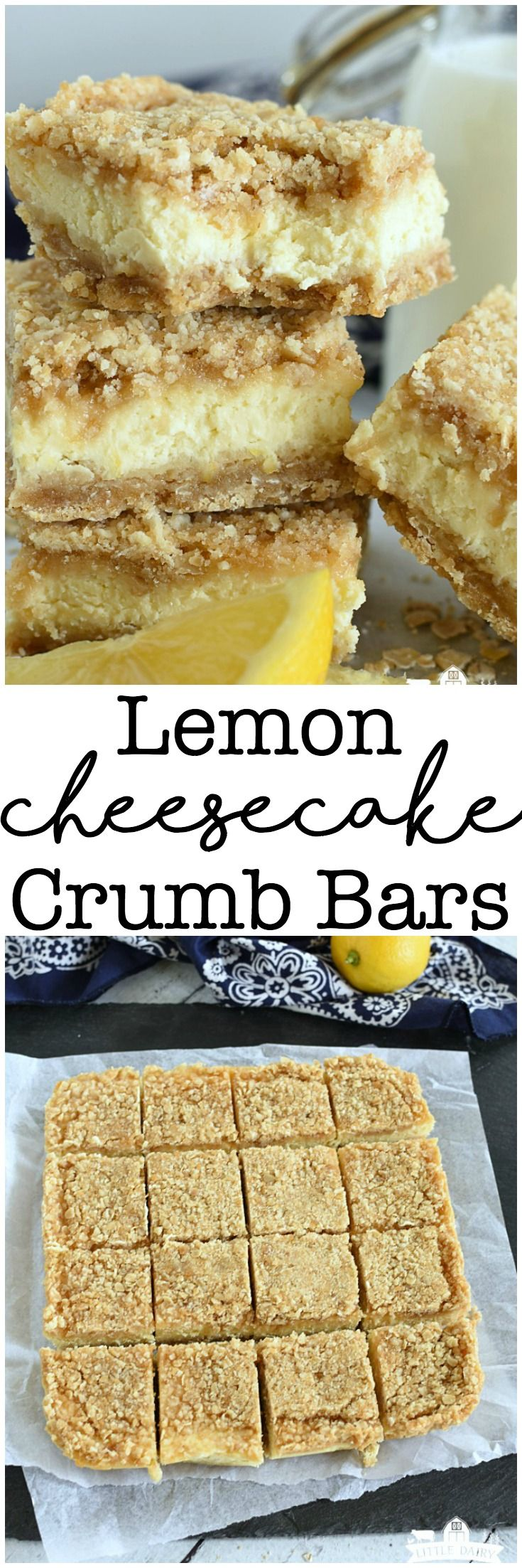 Lemon Cheesecake Crumb Bars - yummy lemon cheesecake layer between buttery oatmeal crumb layers! Easy dessert! Bar cookies! #ad #dairywest #UndeniablyDairy