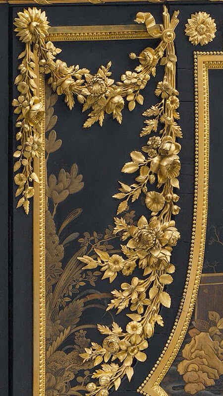 "DETAIL ~ GILDED BRONZE MOUNTS ~ SECRÉTAIRE ABATTANT~ 1783 Jean-Henri Riesener ~Secretary; ebony, black and gold Japanese lacquer, exotic woods, gilt-bronze mounts. Ordered with matching commode and encoignure for Marie Antoinette's cabinet at Versailles. The superb quality gilded bronze mounts have been attributed to Pierre Gouthière, the most famous Parisian bronzeworker of the late 18th c. century who became ""doreur du roi""  (gilder to the king) in 1767. COLLECTION MMA, NY"