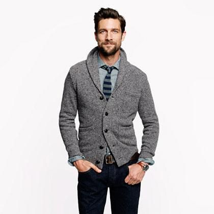 Men'S Button Cardigan Sweater - Sweater Grey