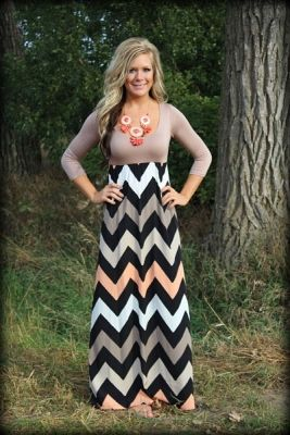 tan and coral chevron maxi dress, chevron maxi dress, long sleeve chevron maxi dress, taupe and coral chevron maxi dress
