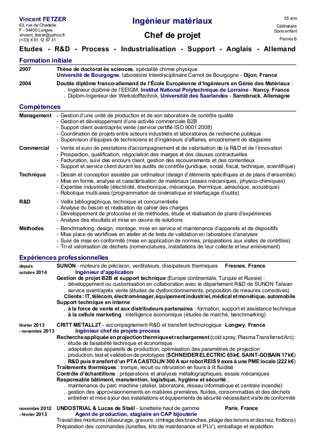 Epingle Par Marnie Reims Sur Communication Professionnelle Cv Ingenieur Ingenieur Materiaux Exemple Cv