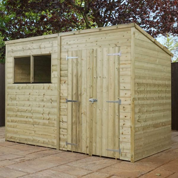 Adley 10 X 5 Pressure Treated Premium Double Door Shiplap Pent Shed Wooden Sheds Shed Homes Shed