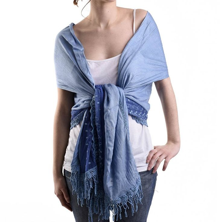 SCARF IN ΒLUE COLOR WITH LACE - Scarfs/Sun Dresses