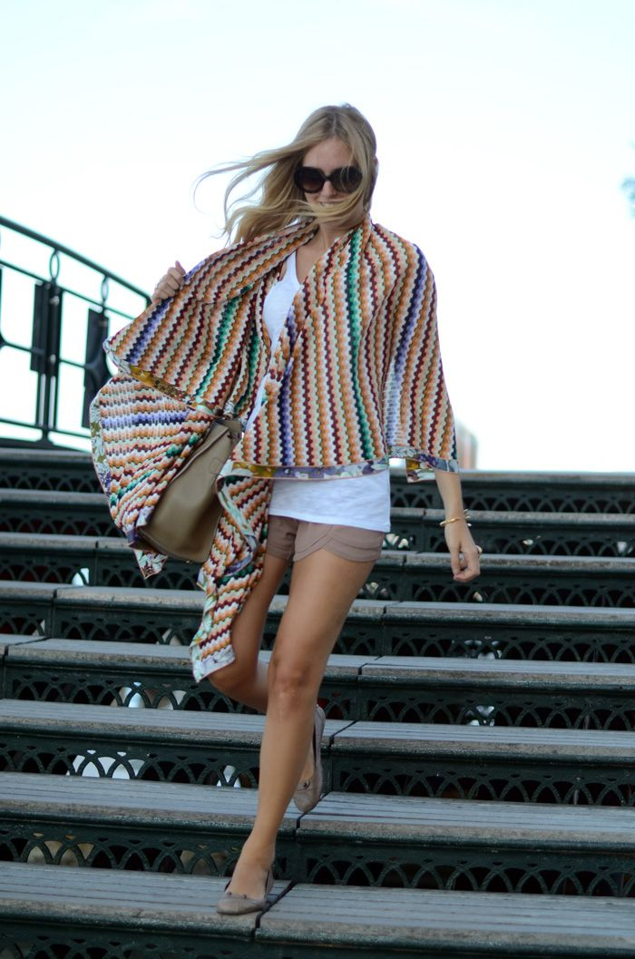 Love the shorts and cape/wrap @The Blonde Salad
