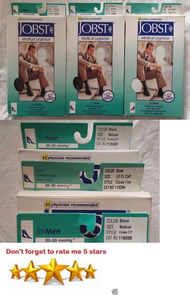 Compression Garments: Mens Jobst Compression Stocking Sock Knee Calf High 20-30 Mm Medium Large Black BUY IT NOW ONLY: $94.85