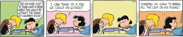 Do NOT mess with Lucy. Peanuts for 4/28/2014 | Peanuts | Comics | ArcaMax Publishing