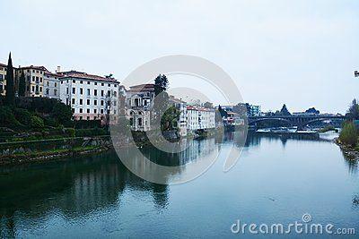 Bridge on the Brenta river in the old town of Bassano del Grappa, Veneto, Italy.