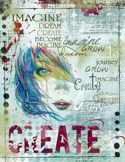 Imagine by rosek - Scrap Art Studio Gallery <3 the face with all the inspirational words blended in there.