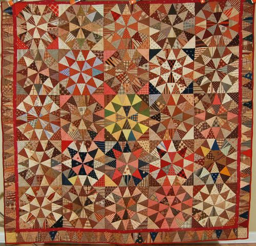 "OUTSTANDING Vintage 1870's ""Winding Ways"" Antique Quilt ~GORGEOUS FABRICS! | eBay"