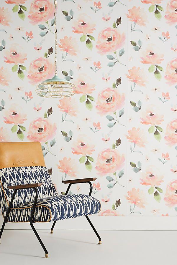 Blooming Watercolor Wallpaper In 2021 Anthropologie Wallpaper Watercolor Wallpaper Floral Wallpaper