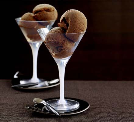 Choose really dark chocolate and cocoa for this unusual low-fat sorbet.