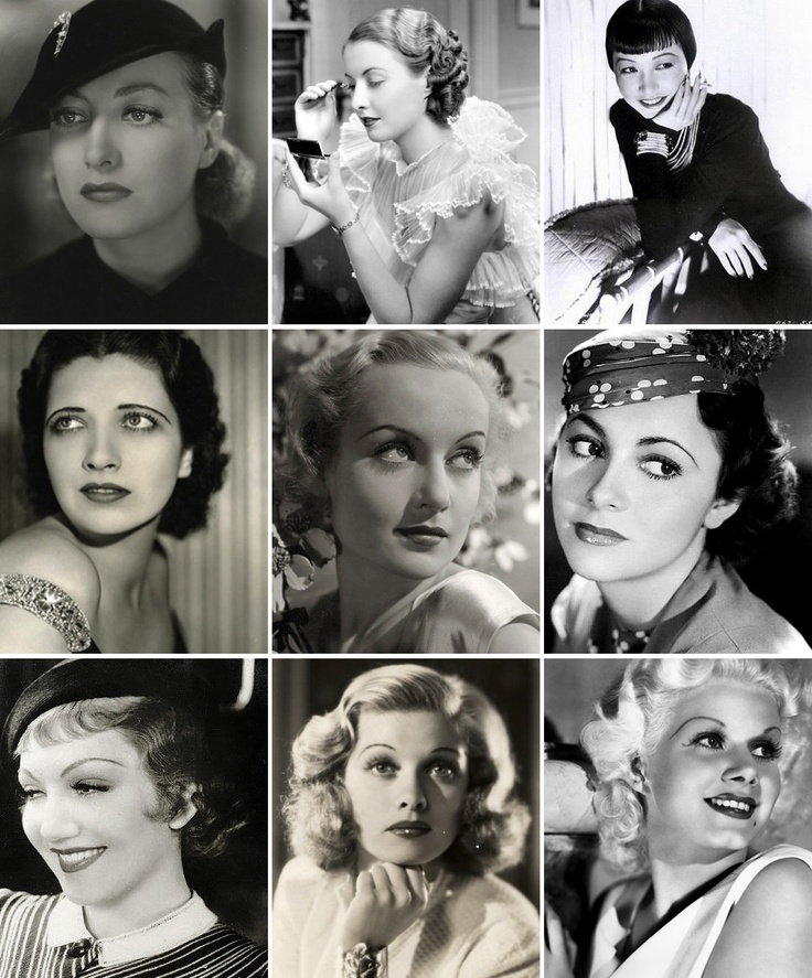 1930s brows are generally long, thin and highly curved. Some are all one width (Jean Harlow, bottom right), others have a slightly wider inner edge and taper to a thin line towards the outer point (Olivia deHavilland, center right).