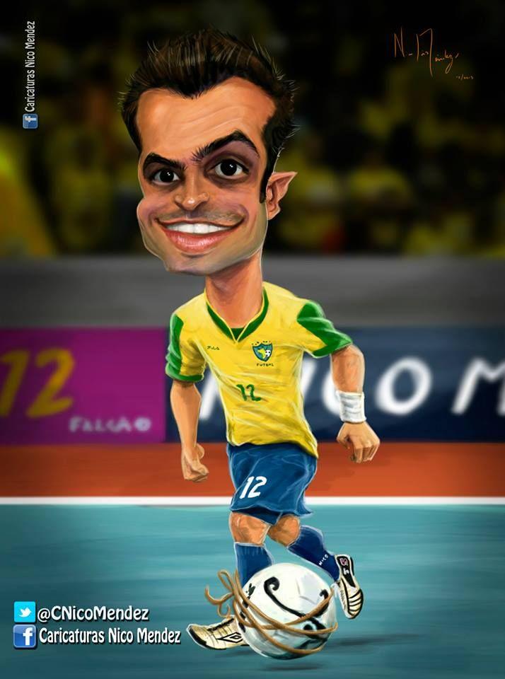 (Caricatura) Falcão 12 - El mejor jugador de futsal de todos los tiempos. Les dejo un video con algunas de sus geniales y famosas jugadas. / Brasil