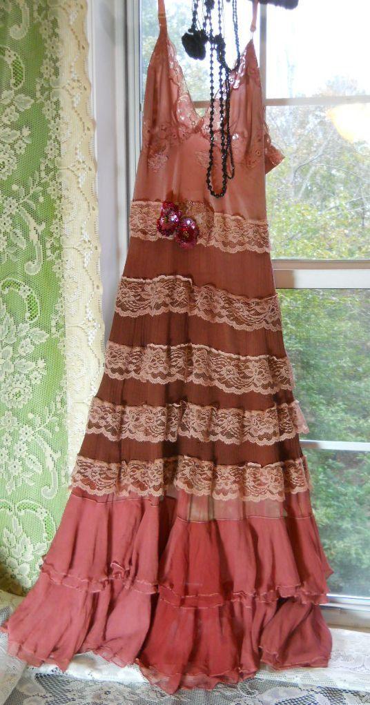 Rust boho  dress pink ruffles silk beige lace rose prairie bohemian